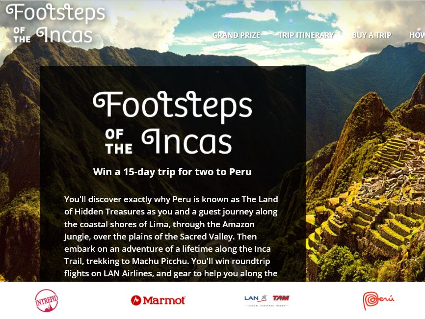 The Footsteps of the Incas Sweepstakes