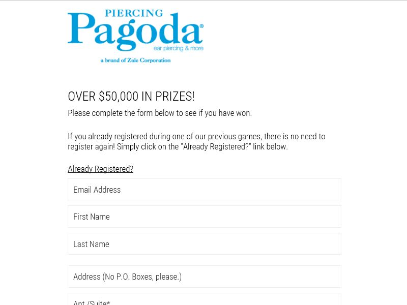 Piercing Pagoda Fall Instant Win Sweepstakes