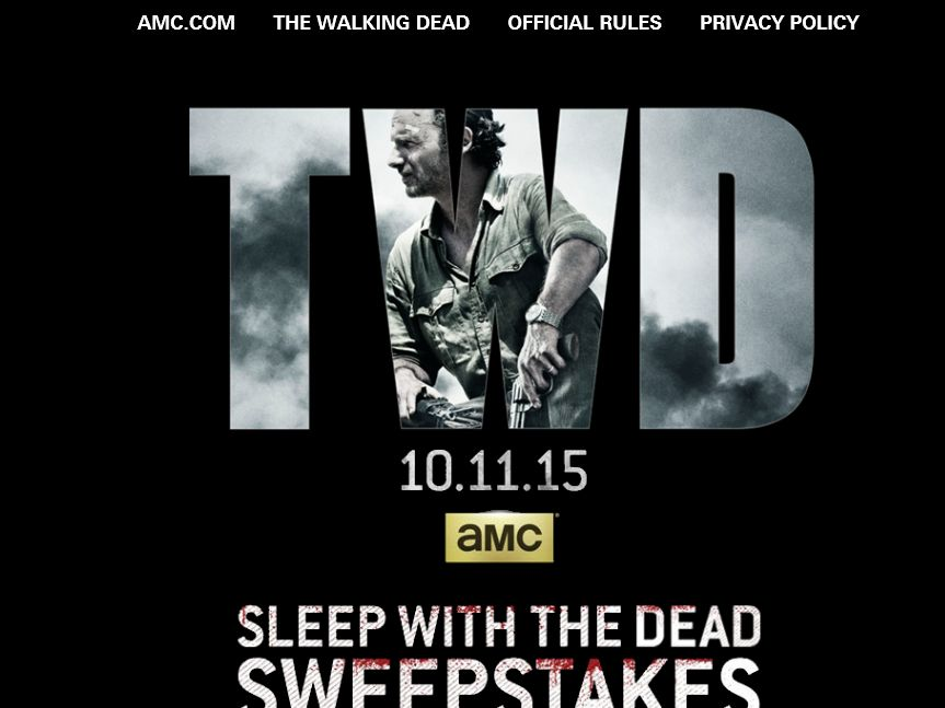 AMC's The Walking Dead Sleep With The Dead Sweepstakes – Select Hours on Sunday & Monday
