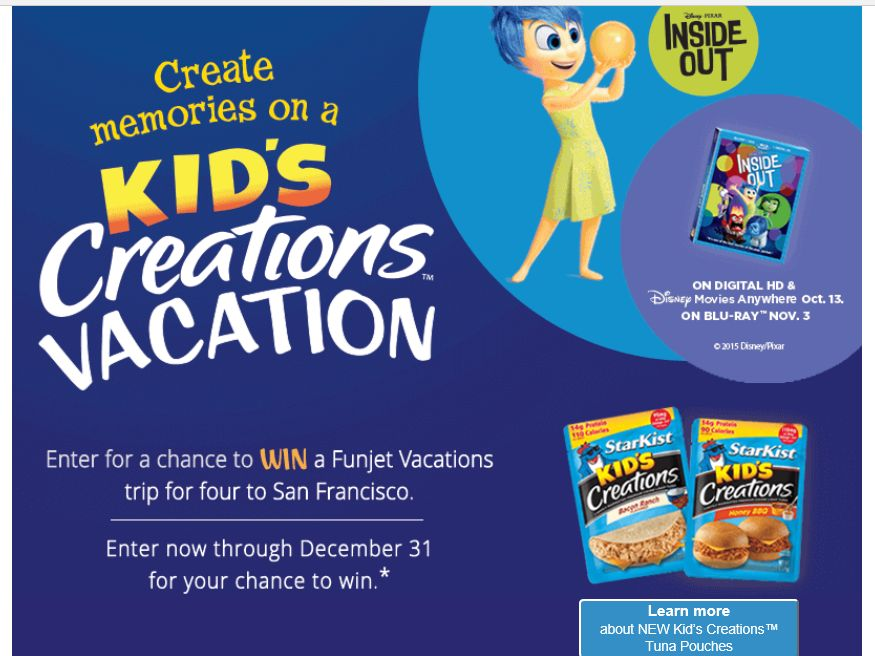 "The ""StarKist Kid's Creations Vacation"" Sweepstakes"