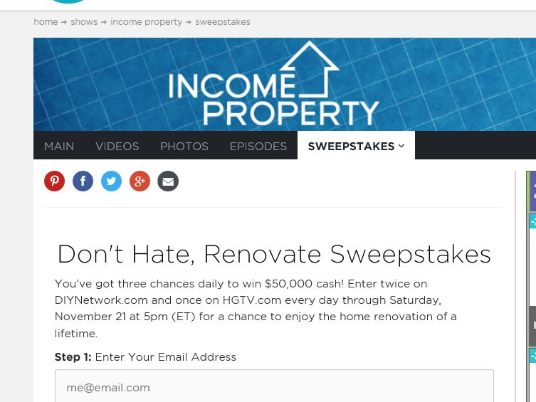 HGTV Don't Hate, Renovate Sweepstakes