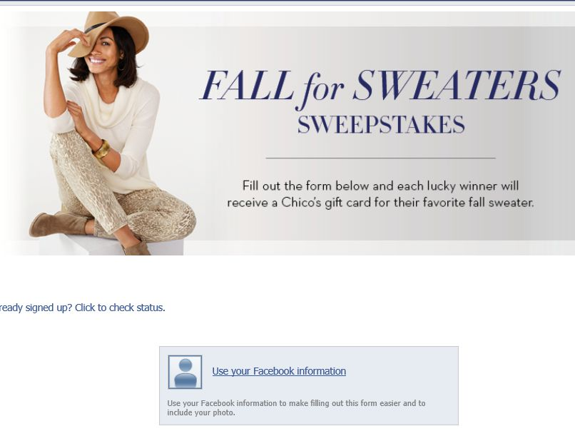 Chico's Fall for Sweaters Sweepstakes