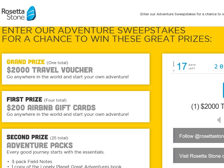 The Rosetta Stone Embrace Conversation Travel Sweepstakes