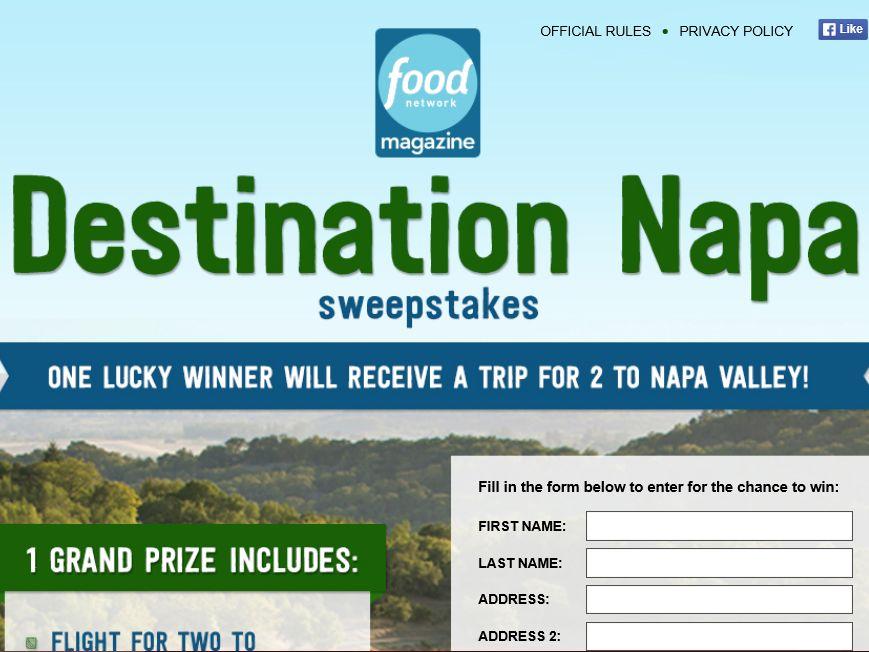 Destination Napa Food Network Sweepstakes