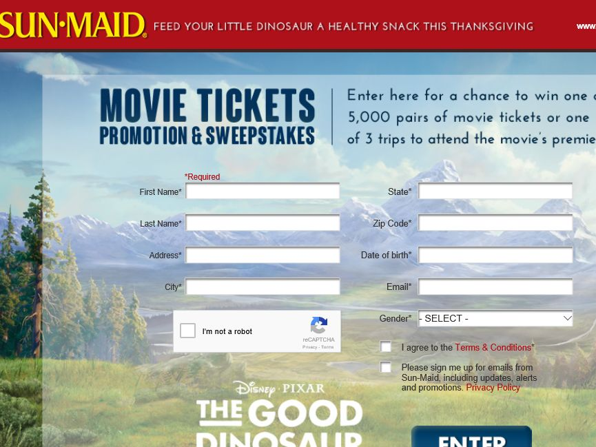 Sun-Maid's Movie Ticket Promotion