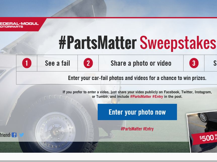 Federal-Mogul #PartsMatter Sweepstakes