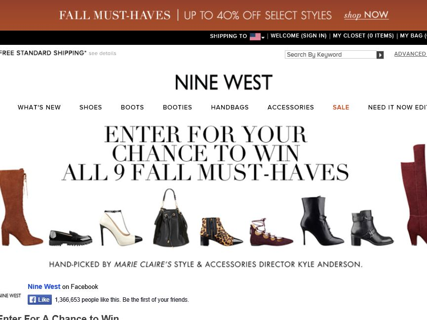 """Nine West """"Win the 9 List"""" Sweepstakes"""