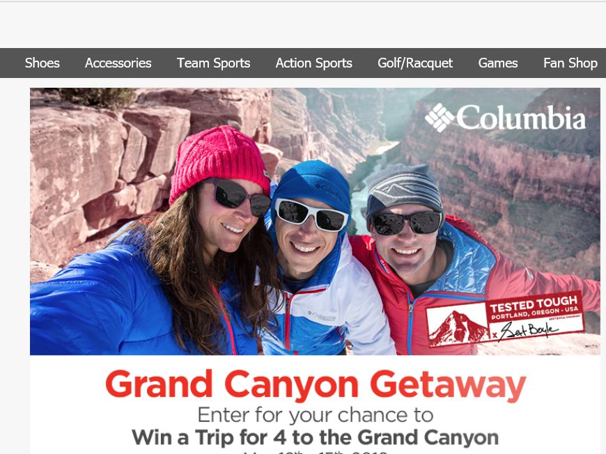 Sports Authority and Columbia Sportswear Company Grand Canyon Getaway Sweepstakes