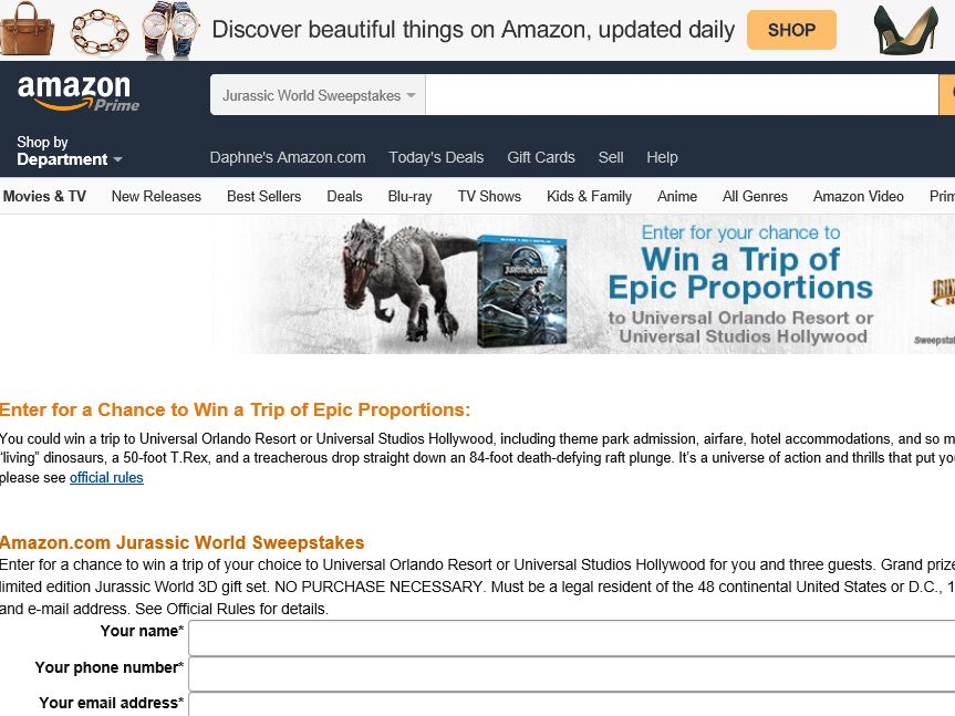 "Amazon.com ""Jurassic World"" Vacation Sweepstakes"