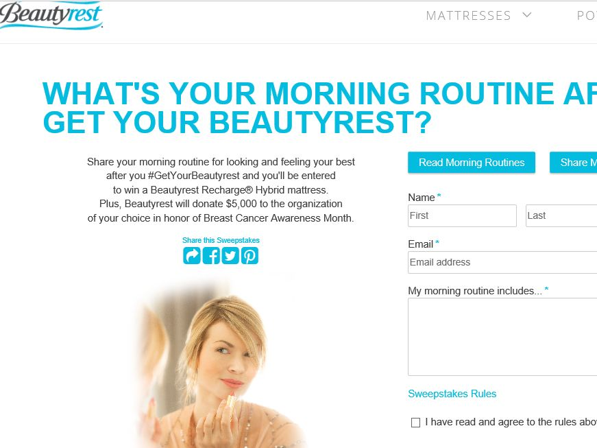 Beautyrest Breast Cancer Awareness Sweepstakes
