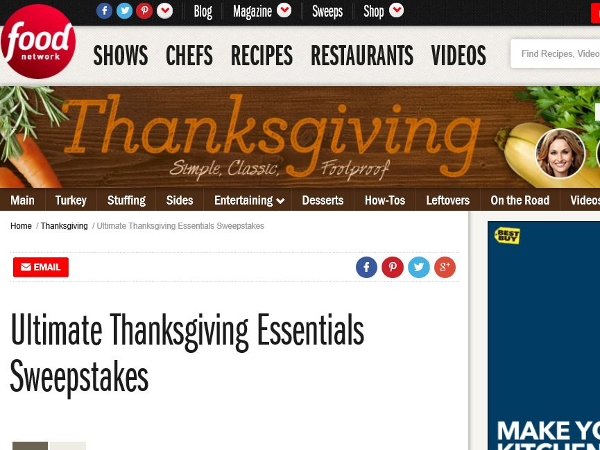 The Food Network Ultimate Thanksgiving Essentials Sweepstakes