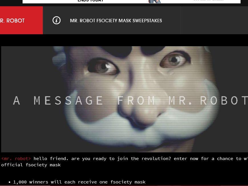 USA Mr. Robot FSociety Mask Sweepstakes