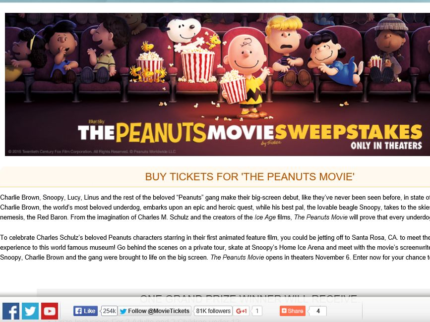 "The MovieTickets.com ""The Peanuts Movie"" Sweepstakes"