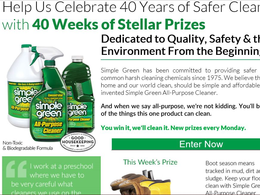 Simple Green's November 2015 Sweepstakes