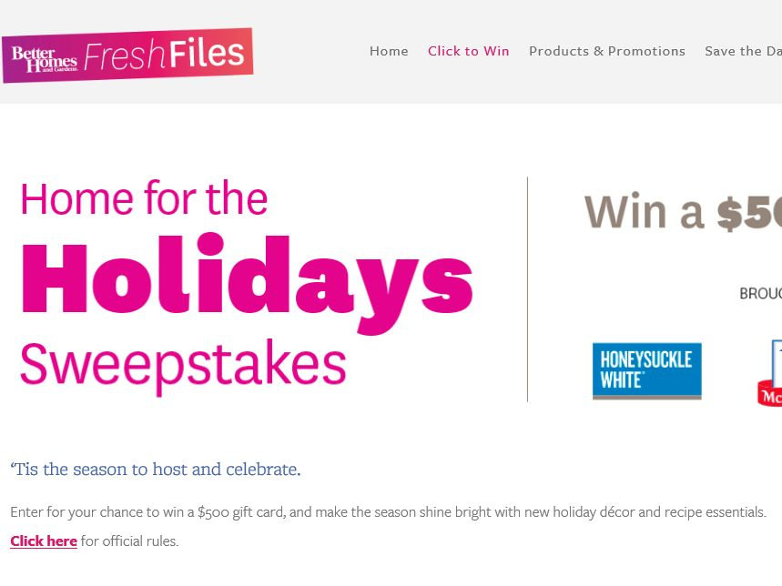 The Better Homes & Gardens Home for the Holidays Sweepstakes