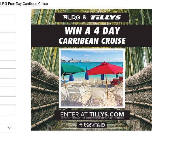 Tilly's Caribbean Cruise Sweepstakes