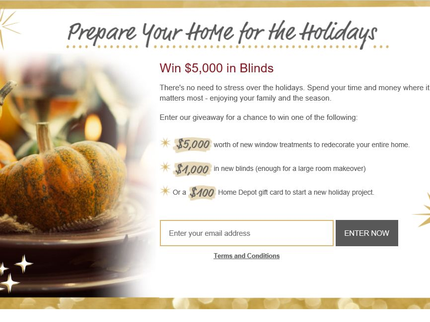 Blinds.com Prepare Your Home for the Holidays Sweepstakes