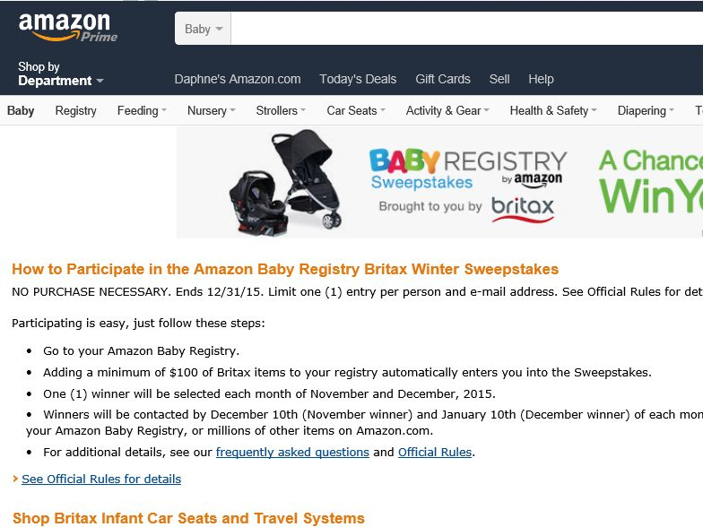 The Amazon Baby Registry and Britax Winter Sweepstakes