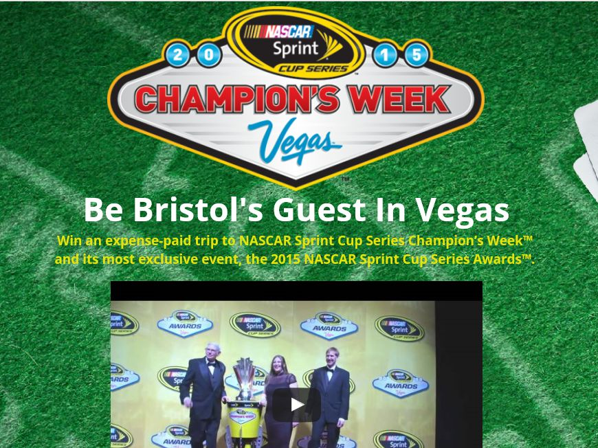 """Bristol Motor Speedway """"Be Bristol's Guest in Vegas Give-away"""" Sweepstakes"""