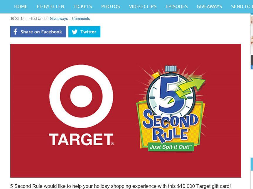 Ellen Degeneres Show Target Card Sweepstakes