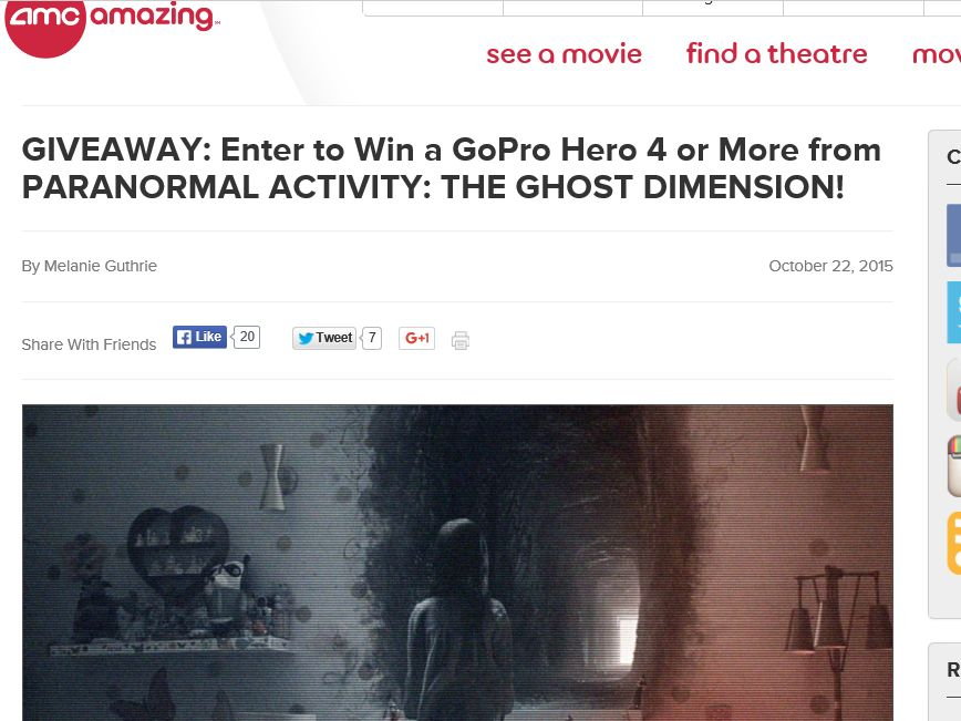 "The AMC ""Paranormal Activity: Ghost Dimension"" Giveaway"