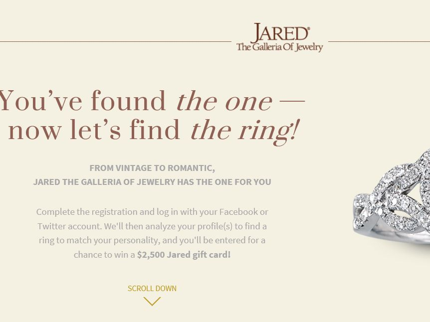 The Jared The Galleria Of Jewelry Found The One Sweepstakes