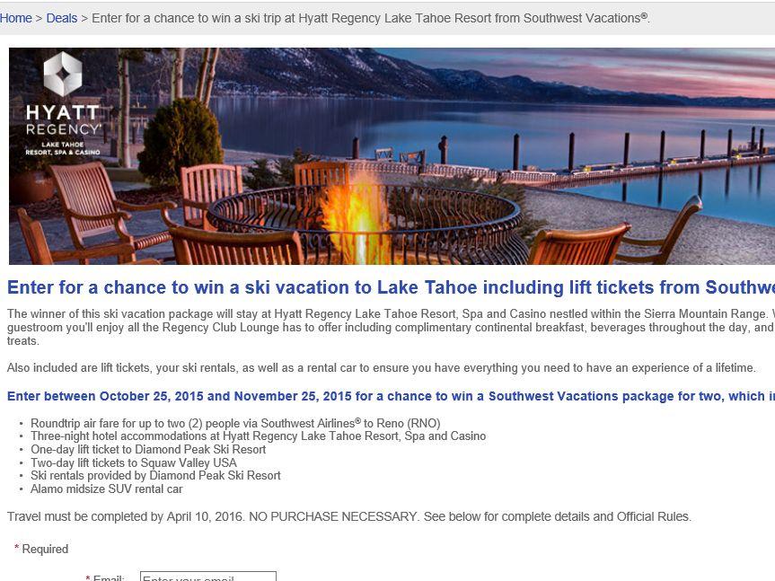Southwest Vacations Hyatt Regency Lake Tahoe Resort Sweepstakes