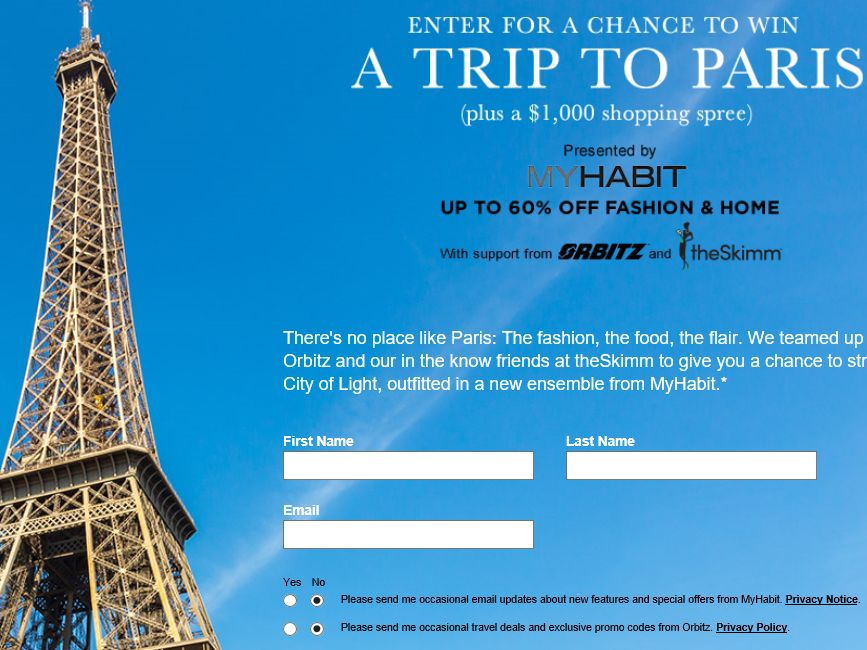 MyHabit.com Trip to Paris & MyHabit Shopping Sweepstakes