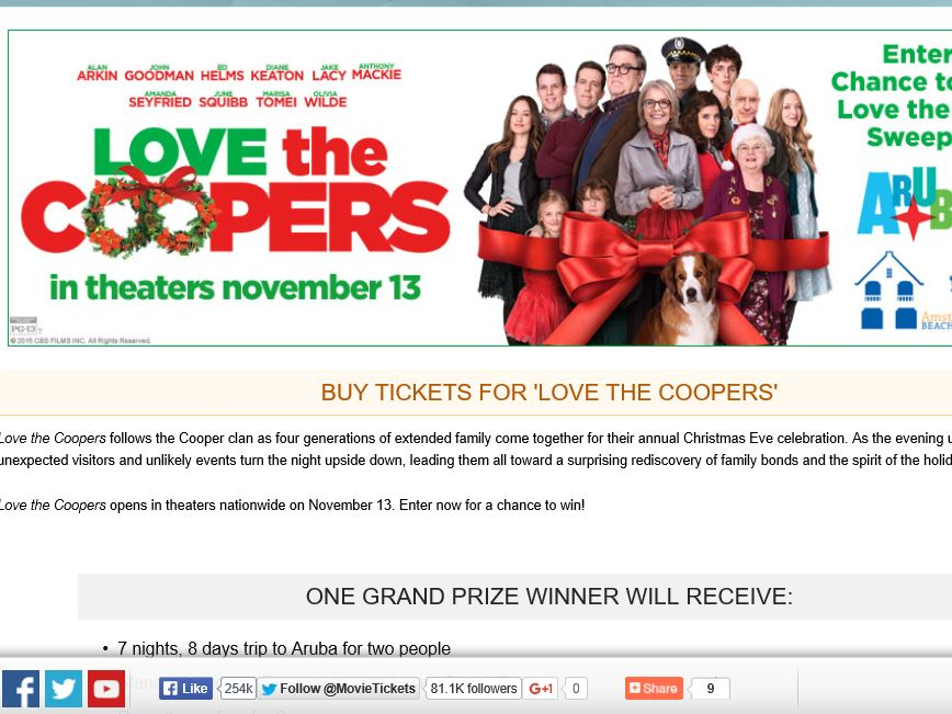 "The MovieTickets.com ""Love the Coopers"" Sweepstakes"