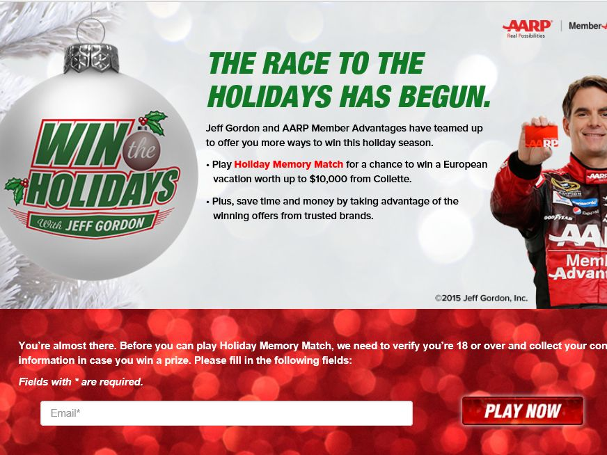 AARP Win the Holidays with Jeff Gordon Sweepstakes