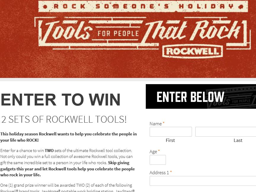 2015 Rockwell Tools for People That Rock Sweepstakes