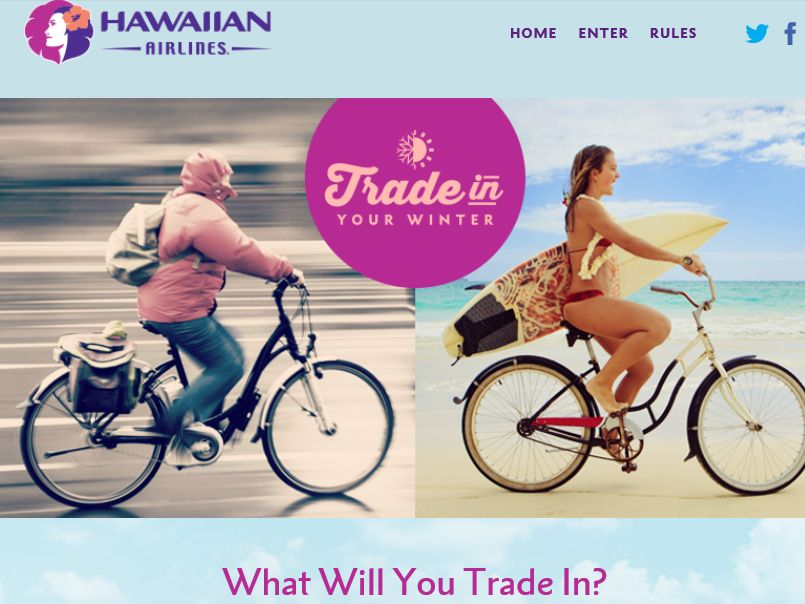 Hawaiian Airlines Trade in Your Winter Sweepstakes