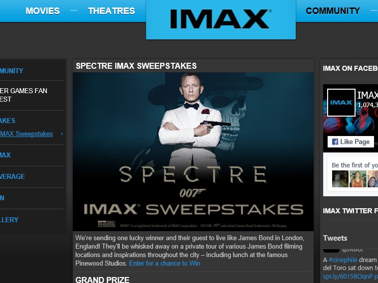 The SPECTRE IMAX Sweepstakes