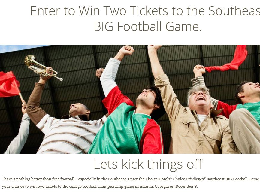 Choice Hotels Choice Privileges Southeast BIG Football Game Sweepstakes