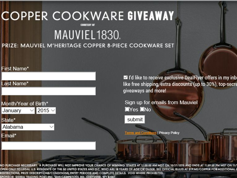 Sierra Trading Post Mauviel Cookware Sweepstakes
