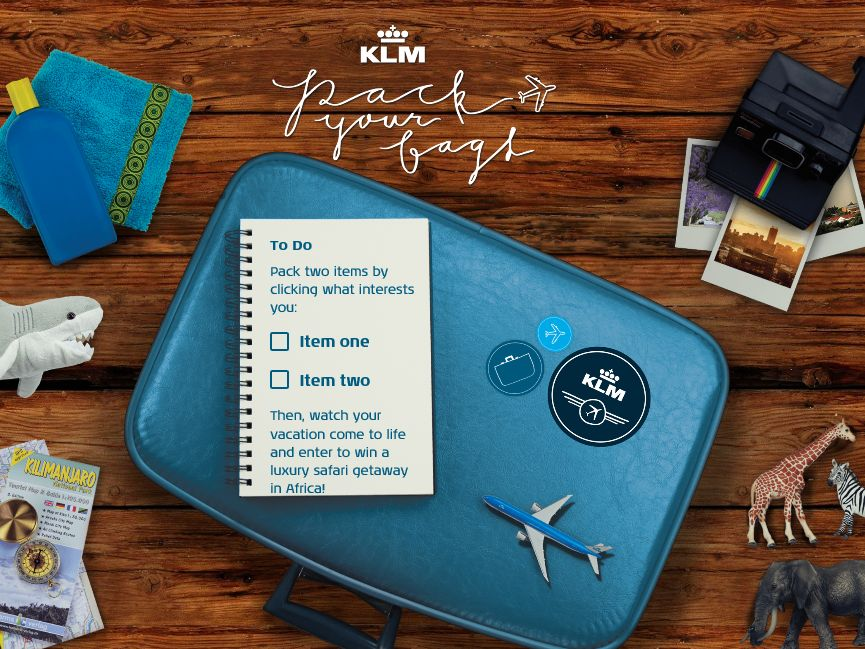 "The KLM Royal Dutch Airlines ""Pack Your Bags"" Sweepstakes"