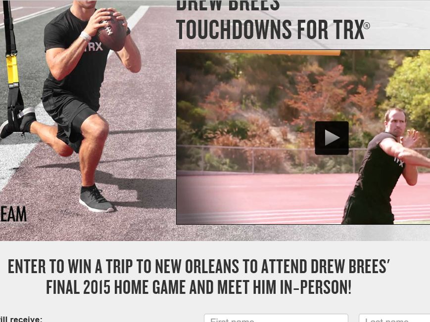 Drew Brees Touchdowns for TRX Sweepstakes