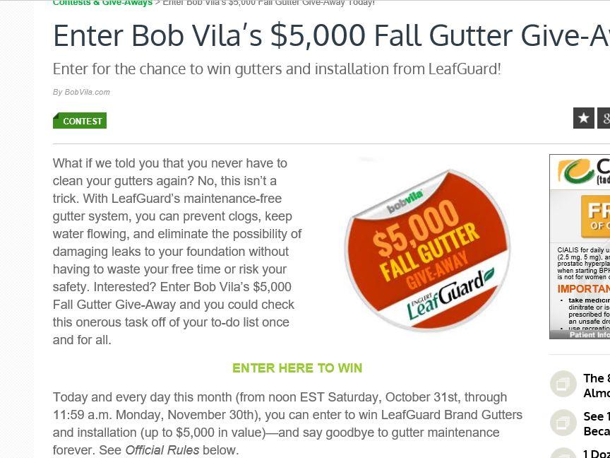 "Bob Vila's ""$5,000 Fall Gutter Give-Away"" Sweepstakes"