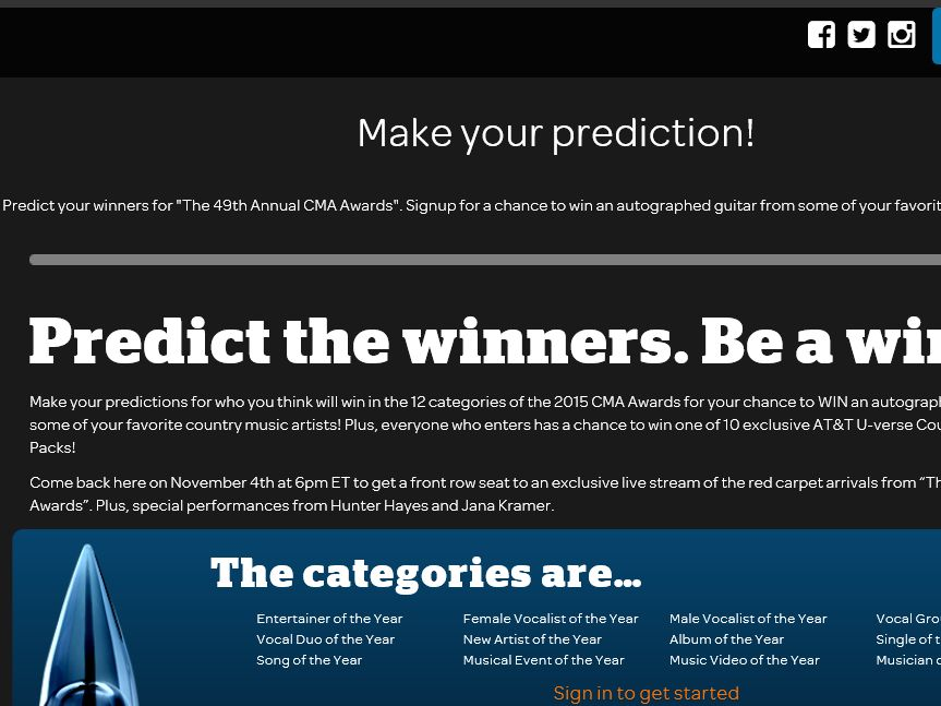 The AT&T U-verse CMA Awards Predictions Sweepstakes