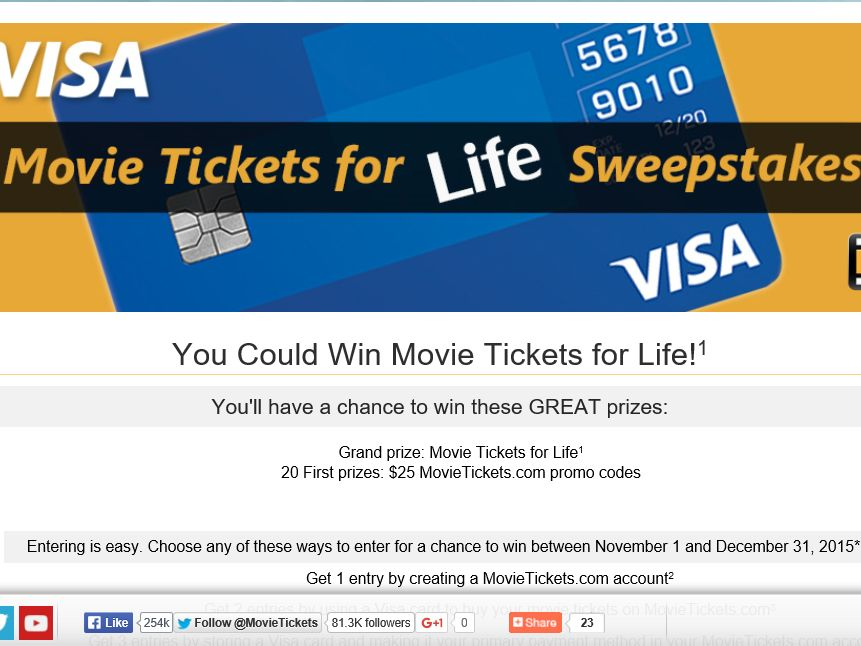 MovieTickets.com Movie Tickets for Life Sweepstakes