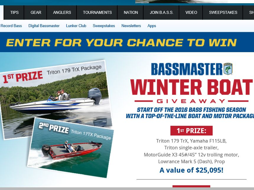 The Bassmaster Winter Boat Giveaway Sweepstakes