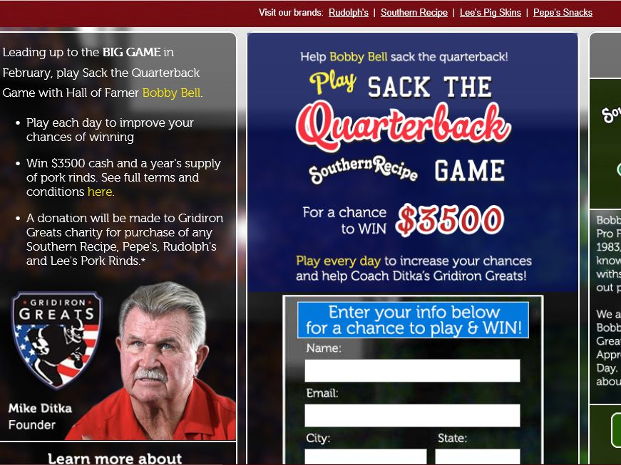 "The Rudolph Foods ""Sack the Quarterback Game"" Sweepstakes"
