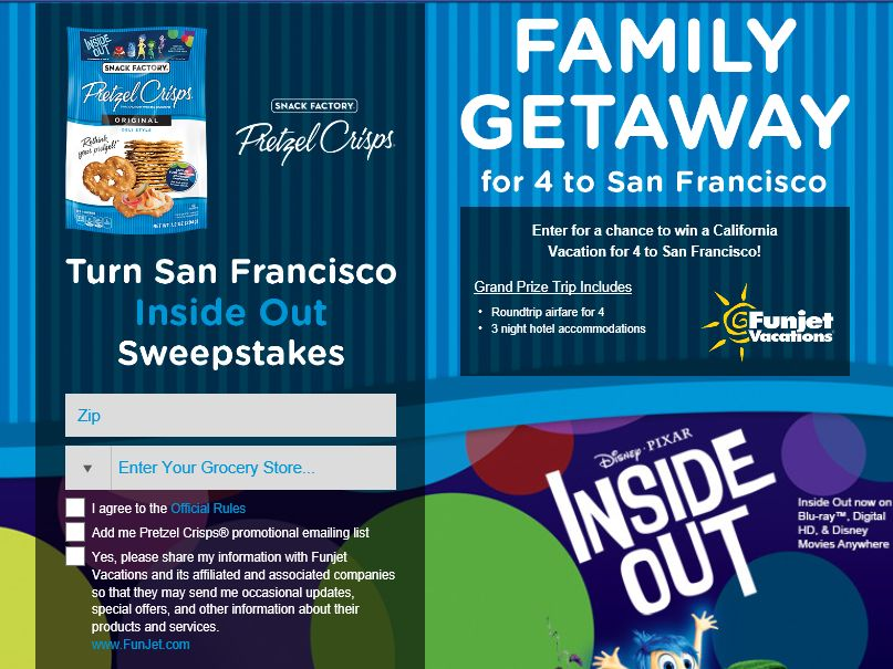 "The Snack Factory Pretzel Crisps ""Turn San Francisco Inside Out"" Sweepstakes"