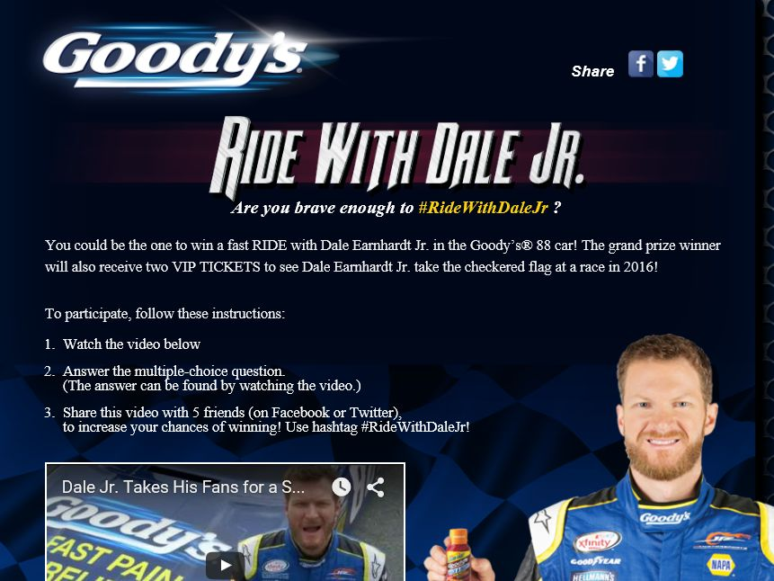 Goody's Powder Ride With Dale Jr. Sweepstakes
