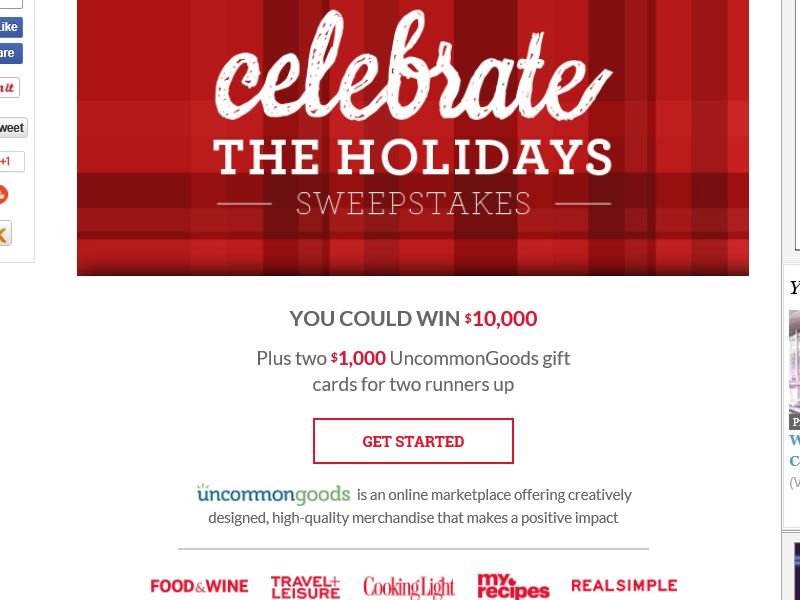 The Food and Wine Celebrate the Holidays Sweepstakes