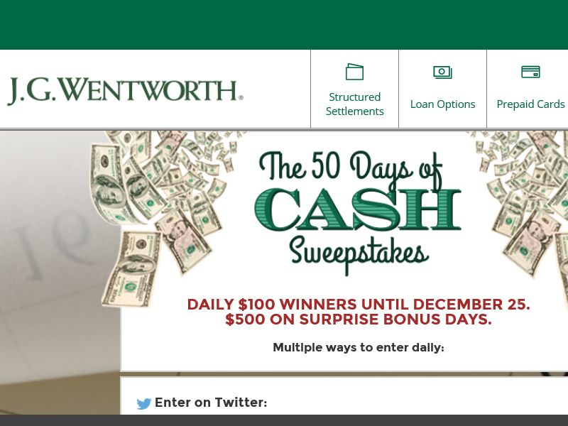 The  J.G. Wentworth 50 Days of Cash Sweepstakes