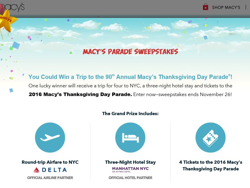 Macy's Parade Sweepstakes