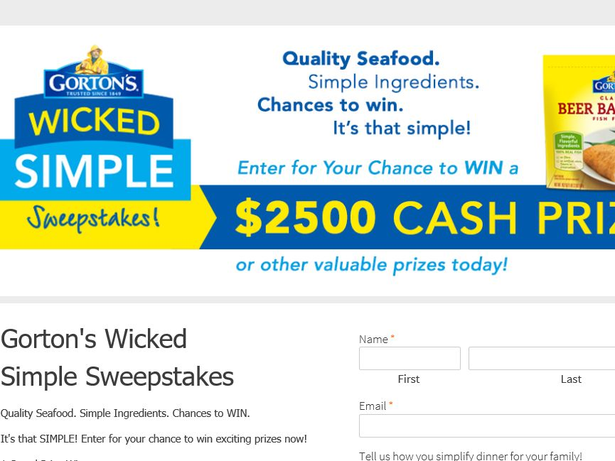 The Gorton's Wicked Simple Sweepstakes