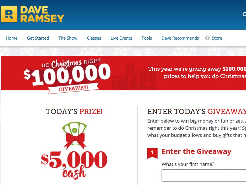 The Dave Ramsey Do Christmas Right $100,000 Giveaway Sweepstakes