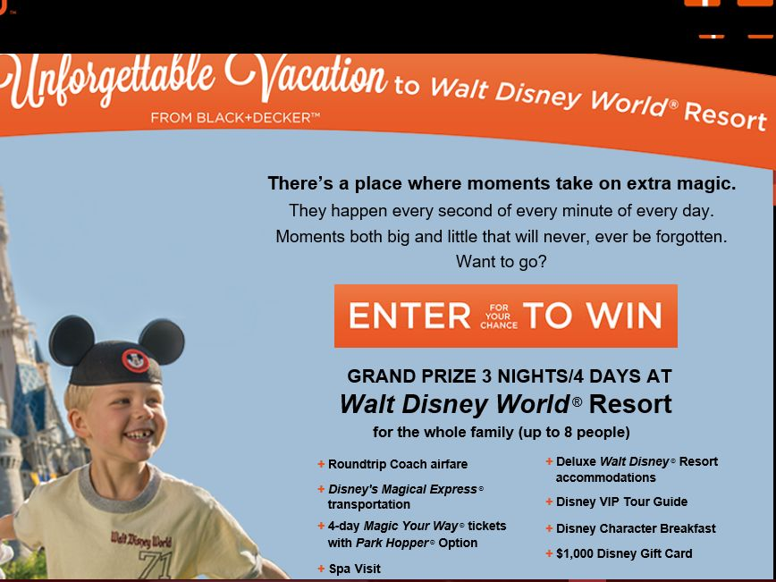 The BLACK+DECKER Magical Vacation Giveaway Sweepstakes